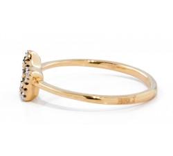 Coppia di fedi in oro rosa e bianco con diamante in oro 18Kt