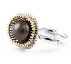 Anello perla e diamanti in oro 18Kt BIBIGI'