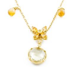 Collana quarzo e diamanti in oro 18Kt BIBIGI