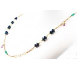 Collana opale smeraldi e zaffiri in oro 18Kt