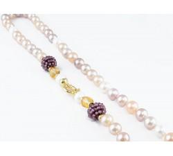 Collana Perle multicolor con chiusura in oro 18Kt