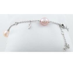 Bracciale perle multicolor e diamanti Ct.0,07 in oro 18Kt BIBIGI'