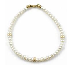 Bracciale perle con inserti in oro 18Kt