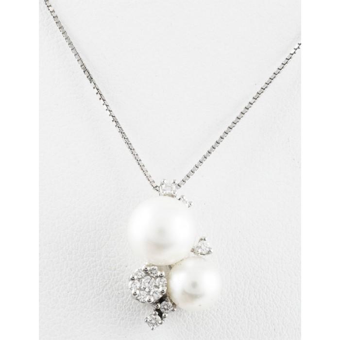 Pendente perle e diamanti in oro 18Kt BIBIGI'