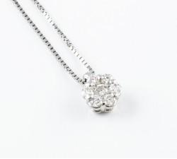 Pendente fiore punto luce diamanti Ct.0,22 in oro 18Kt