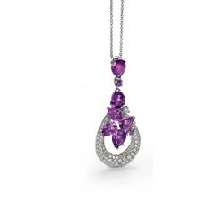 Pendente ametista diamanti in oro 18Kt