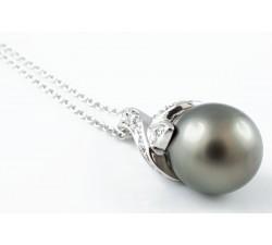 Pendente perla tahiti e diamanti in oro 18Kt
