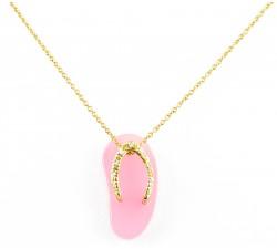 Pendente girocollo infradito con diamanti in oro 18Kt collezione beach