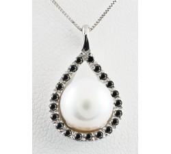 Pendente perla e diamanti neri in oro 18Kt