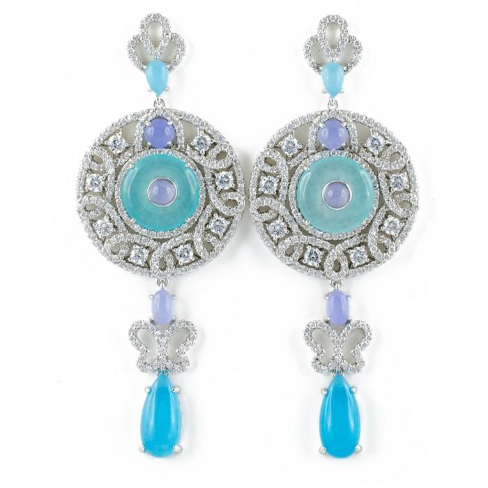 Orecchini pendenti fantasia con zirconi in argento 925 azzurro e viola