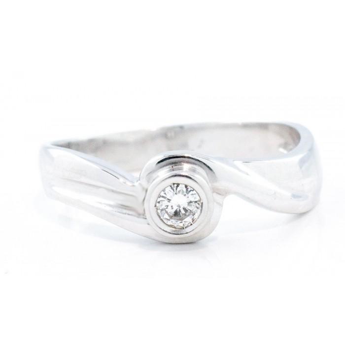 Anello solitario diamante Ct.0,11 in oro 18Kt