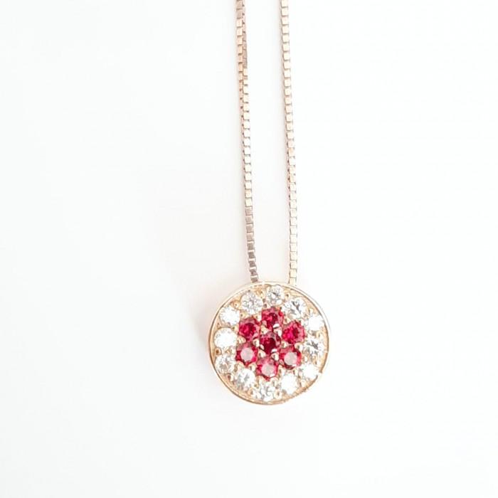 Girocollo pendente bottone rubini e diamanti in oro 18Kt
