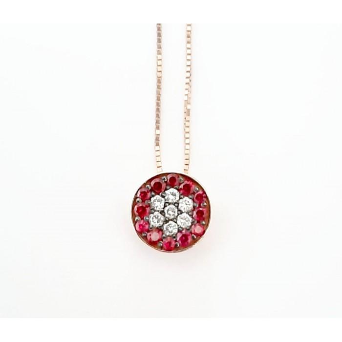 Girocollo pendente bottone rubini Ct.0,13 e diamanti Ct. 0,10 in oro 18Kt