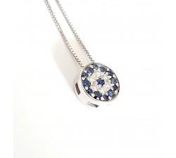 Girocollo pendente bottone zaffiri Ct.0,15 e diamanti Ct. 0,08 in oro 18Kt