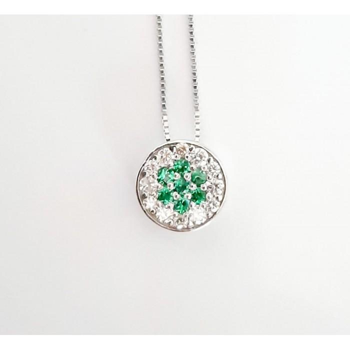 Girocollo pendente bottone tsavorite e diamanti Ct. 0,13 in oro 18Kt