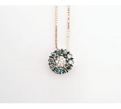 Girocollo pendente bottone diamanti blu e bianchi in oro 18Kt