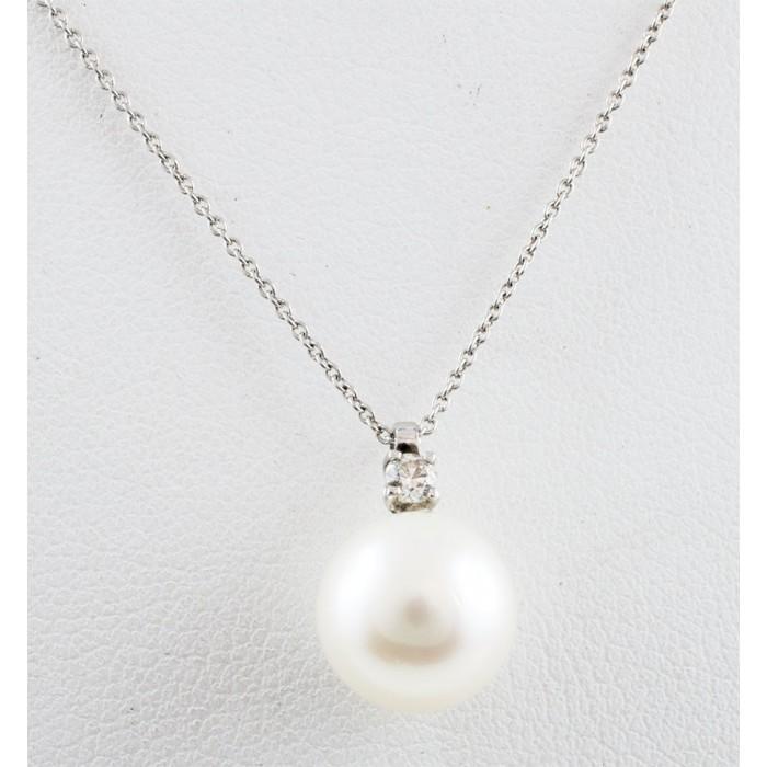 Pendente perla 9-9,5 e diamante in oro 18Kt