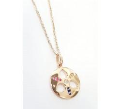Girocollo pendente fantasia con diamanti e zaffiri in oro 18Kt
