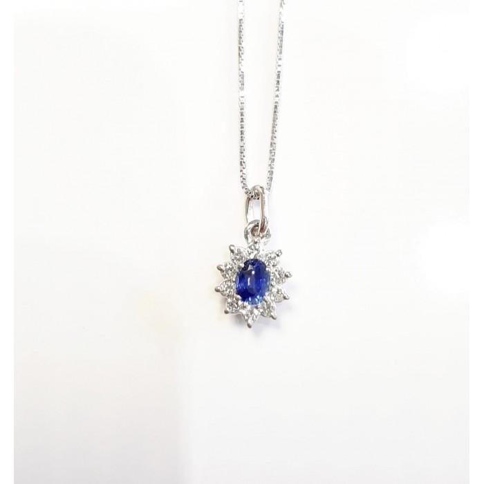 Girocollo pendente margherita zaffiro Ct. 0,22 e diamanti Ct. 0,12 in oro 18Kt