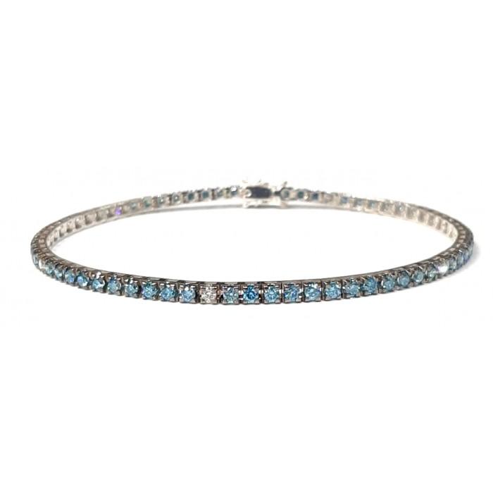 Bracciale Tennis Diamanti Blu e Bianchi in oro 18Kt