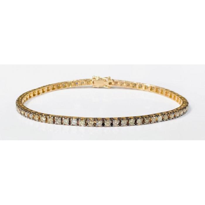 Bracciale Tennis Diamanti Light Brown e Diamanti Bianchi Ct. 5,00 in oro 18Kt
