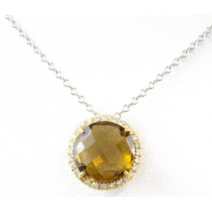 Pendente quarzo citrino e diamanti in oro 18Kt BIBIGI'