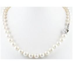 Collana Perle di mare con chiusura diamanti in oro 18Kt