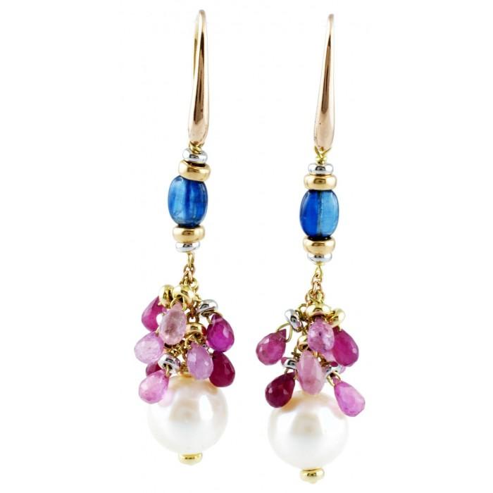 Orecchini perle cianite e zaffiri in oro 18Kt collezione Cannes