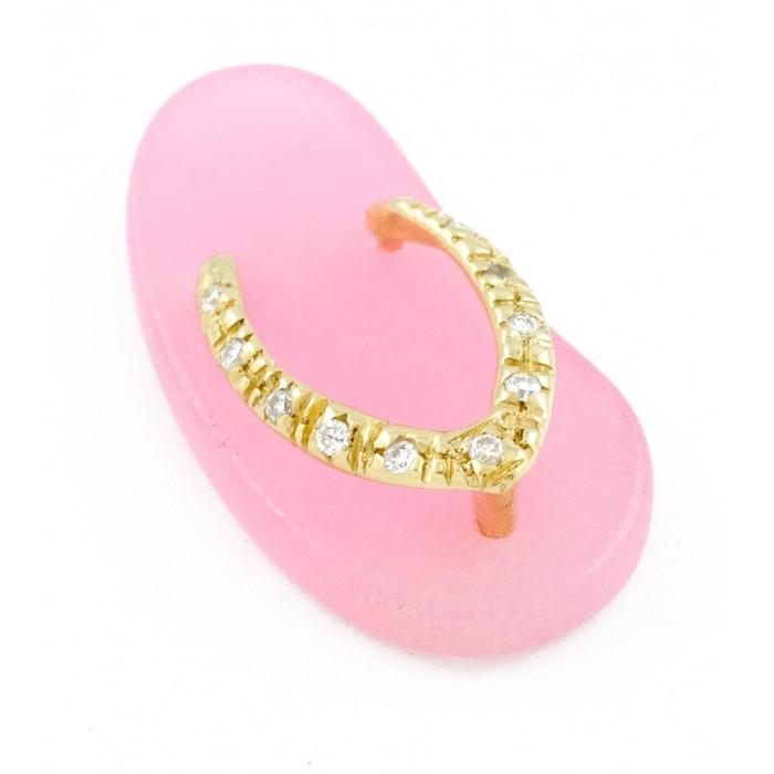 Ciondolo infradito con diamanti in oro 18Kt collezione beach