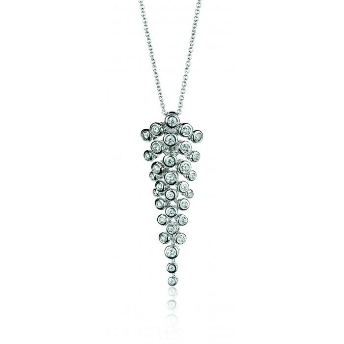 Pendente grappolo diamanti in oro 18Kt Cassiopea BIBIGI