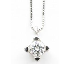 Girocollo pendente solitario diamante Ct.0,25 F VS2 punto luce in oro 18Kt